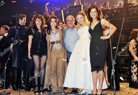 25th Anniversary of 'Les Miserables' at the 02 the Original and Latest Casts of the Production Join Together For the Curtain Call with Frances Ruffelle Samantha Barks Cameron Mackintosh Katie Hall and Rebecca Caine