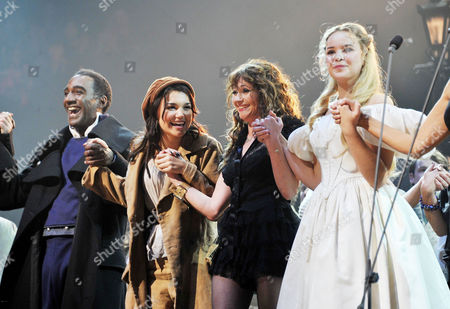 25th Anniversary of 'Les Miserables' at the 02 the Original and Latest Casts of the Production Join Together For the Curtain Call with Norm Lewis Samantha Barks Frances Ruffelle and Katie Hall