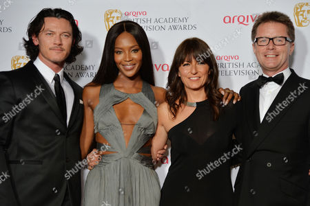 British Academy Television Awards Press Room at the Theatre Royal Drury Lane Luke Evans Naomi Campbell Davina Mccall and Nicky Campbell