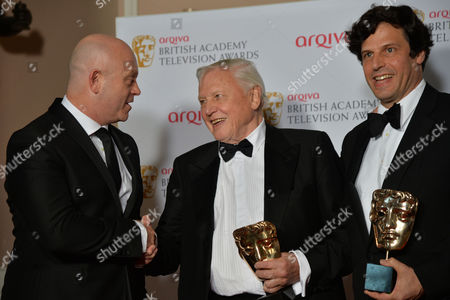 British Academy Television Awards Press Room at the Theatre Royal Drury Lane Best Factual Programme - David Attenborough's Natural History Museum Alive Ross Kemp and David Attenborough with Anthony Geffen