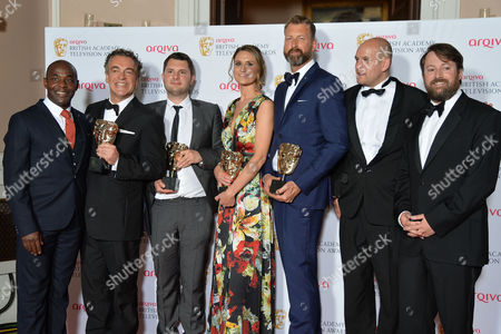 British Academy Television Awards Press Room at the Theatre Royal Drury Lane Best Situation Comedy - 'Him and Her the Wedding' - Paterson Joseph Kenton Allen Stefan Golaszewski Lyndsay Robinson and Richard Laxton with Ricky Champ David Mitchell
