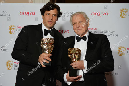 British Academy Television Awards Press Room at the Theatre Royal Drury Lane Best Factual Programme - David Attenborough's Natural History Museum Alive Anthony Geffen and David Attenborough