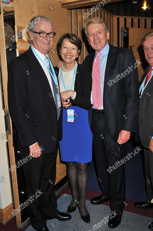 Bell Pottinger and Telegraph Parties During the Autumn Conservative Party Conference at the Icc Center Birmingham Lord Tim Bell and Sir Christopher Meyer with His Wife Catherine Meyer