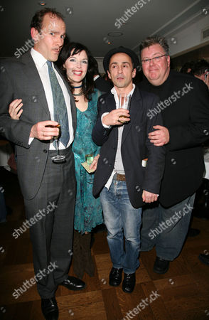 Stock Image of Change of Cast Party For 'The 39 Steps' at Franco's Jermyn Street New Cast Members - Simon Paisley Day Josefina Gabrielle and Martyn Ellis with Simon Gregor