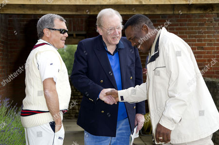 Annual Charity Cricket Match in Aid of Wellbeing of Women Drinks Reception and Lunch at Chippinghurst Manor Sir Martin Sorrell and Sir David Frost with Gordon Greenidge