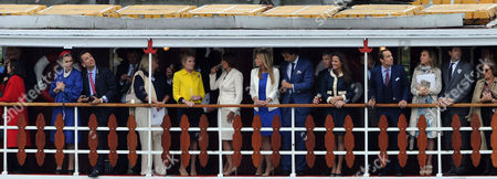 Diamond Jubilee River Pagent - Members of the Royal Family Onboard the Spirit of Chartwell Cadogan Pier Charlie Gilkes and His Girlfriend Anneke Von Trotha Taylor Lady Mary-gaye Curzon Carol Middleton Pippa Middleton with Her Father Michael and Brother James