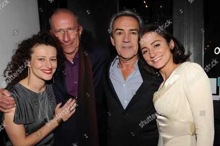 First Night Afterparty For 'Onassis' at Jewel Maiden Lane Convent Garden London Robert Lindsay (onassis) Lydia Leonard White Dress (jackie Kennedy) (r) and Anna Francolini Grey Dress (l) (m Aria C Allas) Martin Sherman the Writer Robert Lindsay with His Wife Rosemary Ford