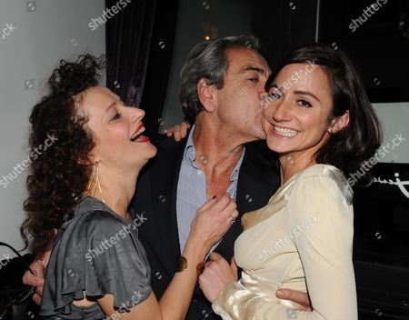 First Night Afterparty For 'Onassis' at Jewel Maiden Lane Convent Garden London Anna Francolini (maria C Allas) Robert Lindsay (onassis) (c) with Lydia Leonard (jackie Kennedy)