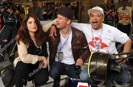 Formula 1 Santander British Grand Prix Race Day at Silverstone Gemma Arterton Michael Fassbender and Goldie