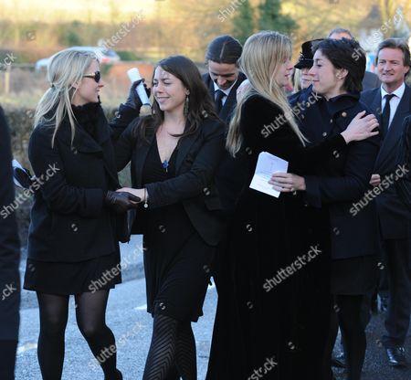 Funeral at St Mary's Church Coddenham Suffolk Arabella Llewellyn and Olivia Llewellyn with Their Cousins Alexandra Llewellyn and Natasha Llewellyn