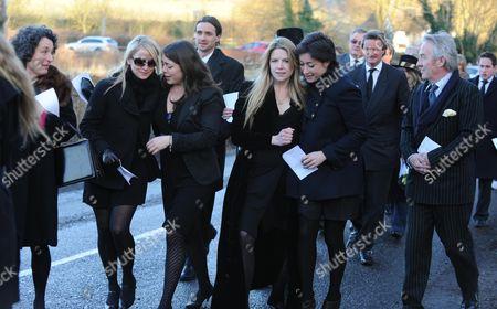 Funeral at St Mary's Church Coddenham Suffolk Tatiana Llewellyn Arabella Llewellyn and Olivia Llewellyn with Their Cousins Alexandra Llewellyn Natasha Llewellyn and Roddy Llewellyn
