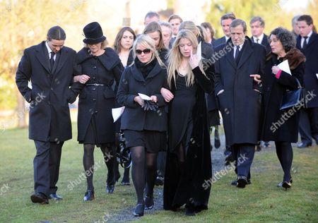 Funeral at St Mary's Church Coddenham Suffolk Vanessa Anstruther-gough-calthorpe Arabella Llewellyn Olivia Llewellyn George Galitzine and Tatiana Llewellyn