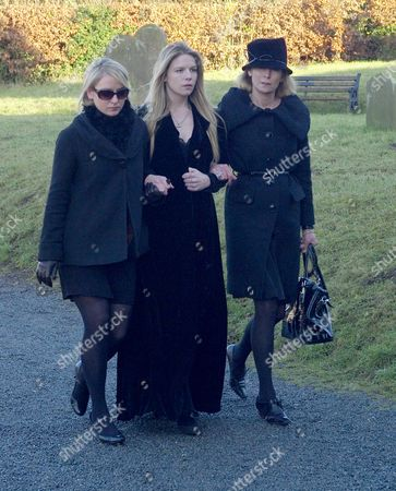 Funeral at St Mary's Church Coddenham Suffolk Vanessa Anstruther-gough-calthorpe with Her Daughters Arabella and Olivia Llewellyn
