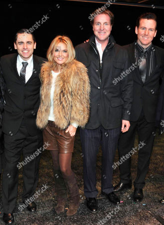 Geri Halliwell with Her Partner Henry Beckwith Took Their Parents to 'Jersey Boys' at the Prince Edward Theatre Old Compton Street Ryan Molloy Geri Halliwell Henry Beckwith and Jon Boydon