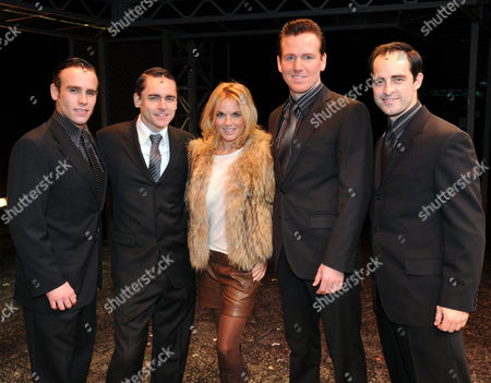 Geri Halliwell with Her Partner and Their Parents to 'Jersey Boys' at the Prince Edward Theatre Old Compton Street Michael Conway Ryan Molloy Geri Halliwell Jon Boydon and Michael Isherwood