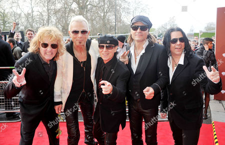 Gorby 80 Gala Arrivals at the Royal Albert Hall the Scorpions (james Kottak Rudolf Schenker Klaus Meine Matthias Jabs and Pawel Maciwoda)