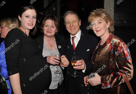 John Mortimer at the Court and Later at the Bar Gala at the Royal Court Theatre Sloane Square London Rosie Mortimer Penny Mortimer Edward Fox & Patricia Hodge