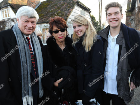John Mortimer Funeral at Turville Buckinghamshire at the Church of St Mary the Virgin Kathy Lette with Her Husband Geoffrey Robinson Qc and Theri Children