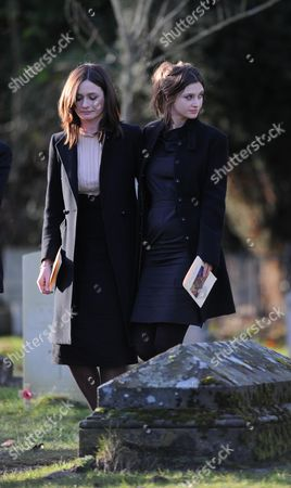 John Mortimer Funeral at Turville Buckinghamshire at the Church of St Mary the Virgin Emily Nivola with Her Sister Rosie Mortimer