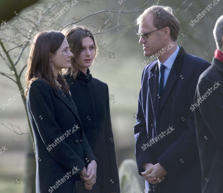 John Mortimer Funeral at Turville Buckinghamshire at the Church of St Mary the Virgin Emily Nivola with Her Sister Rosie Mortimer with Theri Half Brother Ross Bentley