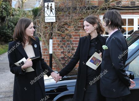John Mortimer Funeral at Turville Buckinghamshire at the Church of St Mary the Virgin Emily Nivola with Her Sister Rosie Mortimer & George Vjestica