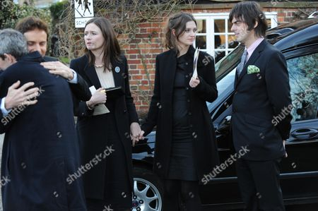 John Mortimer Funeral at Turville Buckinghamshire at the Church of St Mary the Virgin Allessandro Nivola Emily Nivola with Her Sister Rosie Mortimer & George Vjestica