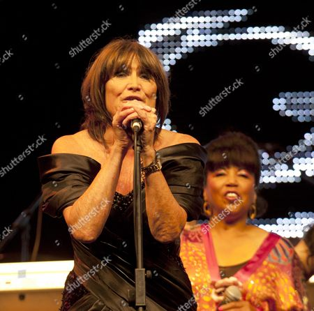 Music at Vintage at Goodwood Festival First Day at Goodwood House Chichester West Sussex Sandie Shaw & Linda Lewis