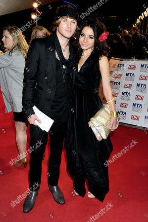 National Television Awards Arrivals at the 02 Greenwich Dougie Poynter with His Girlfriend Lara Carew-jones