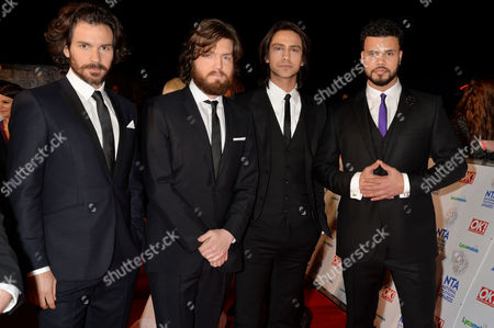 National Television Awards Arrivals at the O2 the Four Musketeers - Santiago Cabrera Tom Burke Luke Pasqualino and Howard Charles