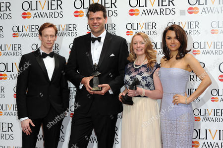 Olivier Awards Press Room 2014 at the Royal Opera House Carolyn Downing and Gareth Owen Winners of Best Sound Presented by Samantha Barks and Ed Watson