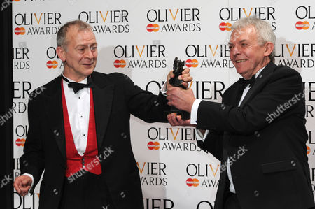 Olivier Awards Press Room 2014 at the Royal Opera House Robert Goodale and David Goodale Winners of Best New Comedy 'Jeeves and Wooster in Perfect Nonsense'