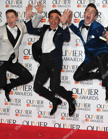 Olivier Awards Press Room 2014 at the Royal Opera House Stephen Ashfield Winner of Best Performance in A Supporting Role in A Musical 'Book of Mormon' and Gavin Creel Winner of Best Actor in A Musical 'Book of Mormon' Presented by Robert Lindsay