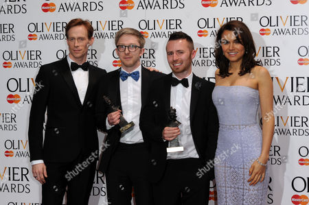 Olivier Awards Press Room 2014 at the Royal Opera House Finn Ross and Tim Lutkin Winners of Best Lighting Design For 'Chimerica' Presented by Samantha Barks and Ed Watson