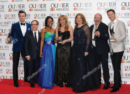 Olivier Awards Press Room 2014 at the Royal Opera House Gavin Creel Jared Gertner Alexia Khadime Sonia Friedman Anne Garefino Casey Nicholaw and Stephen Ashfield Celebrate the Best New Musical Award For the Book of Mormon'
