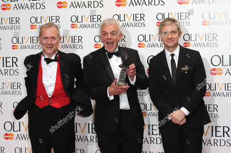 Olivier Awards Press Room 2014 at the Royal Opera House Robert Goodale and David Goodale Winners of Best New Comedy 'Jeeves and Wooster in Perfect Nonsense' Presented by Martin Freeman