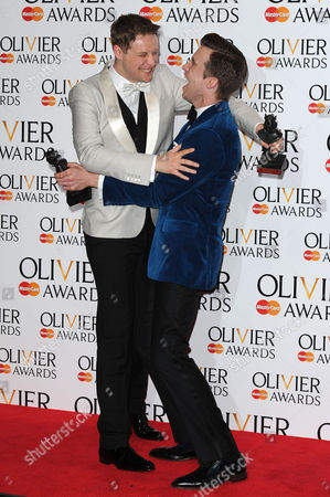 Olivier Awards Press Room 2014 at the Royal Opera House Stephen Ashfield Winner of Best Performance in A Supporting Role in A Musical 'Book of Mormon' and Gavin Creel Winner of Best Actor in A Musical 'Book of Mormon'