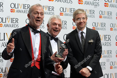 Olivier Awards Reception and Auditorium 2014 at the Royal Opera House Robert Goodale and David Goodale Winners of Best New Comedy 'Jeeves and Wooster in Perfect Nonsense' Presented by Martin Freeman