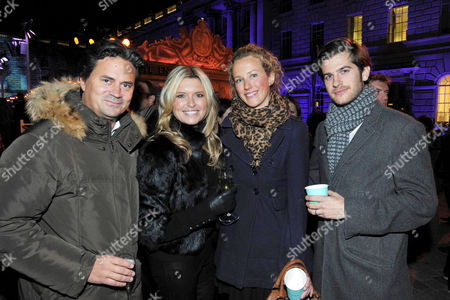 Opening of the Tiffany & Co Presents Skate at Somerset House Open Air Ice Skating Rink On the Strand Oliver Wheeler with His Wife Tina Hobley and Jack Freud with His Wife Kate Meluish