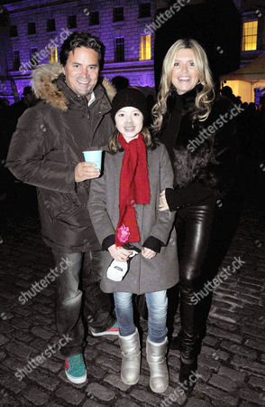Opening of the Tiffany & Co Presents Skate at Somerset House Open Air Ice Skating Rink On the Strand Tina Hobley with Her Husband Oliver Wheeler with Their Daughter