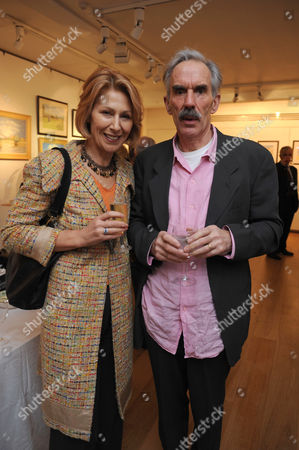 Painting & Watercolours Private View at Sladmore Contemporary Gallery Burton Place Berkeley Square London Jane How with Her Husband Richard Durden