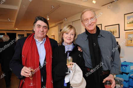 Painting & Watercolours Private View at Sladmore Contemporary Gallery Burton Place Berkeley Square London Angela Douglas & Bill with Charles Dance