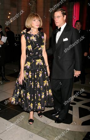 Preview For Golden Age of Couture Gala at the V&a Anna Wintour with Her Partner Shelby Bryan