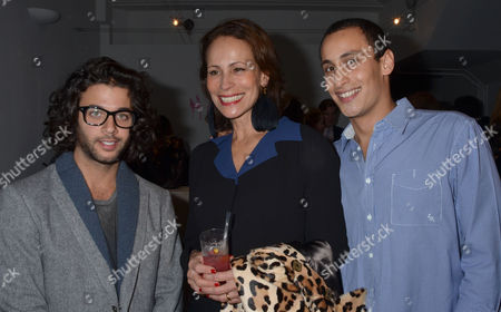 Stock Photo of Private View For Hostage A Show of New Work From British Sculptor Alex Hoda at Alexander Dellal's 20 Projects Frieze Show at Margaret Street London Benjamin Khalili Andrea Dellal with Her Son Alexander Dellal