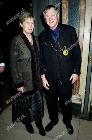 Stock Image of Private View of Modern British Sculpture at the Royal Academy of Arts Sir Nicholas Grimshaw President of the Royal Academy with His Wife Lady Grimshaw