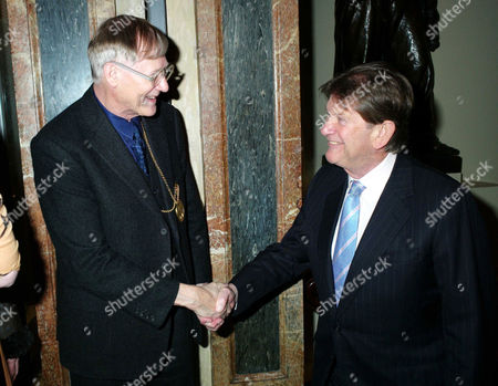 Stock Photo of Private View of Modern British Sculpture at the Royal Academy of Arts Sir Nicholas Grimshaw President of the Royal Academy Greets John Madejski