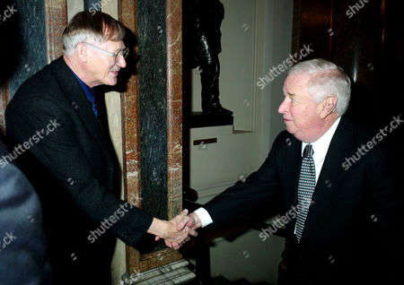 Stock Image of Private View of Modern British Sculpture at the Royal Academy of Arts Sir Nicholas Grimshaw President of the Royal Academy Greets the American Ambassador Louis B Susman