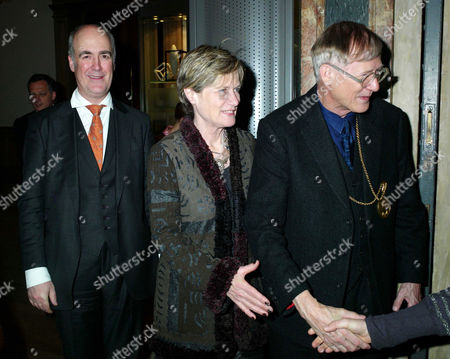 Private View of Modern British Sculpture at the Royal Academy of Arts Charles Saumarez Smith Secretary and Chief Executive of the Raa with Lady Grimshaw and Her Husband Sir Nicholas Grimshaw President of the Royal Academy