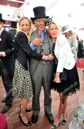 Royal Ascot Races - Final Day at Ascot Race Course Berkshire Charles Harbord with His Daughters Astrid Harbord and Davina Harbord