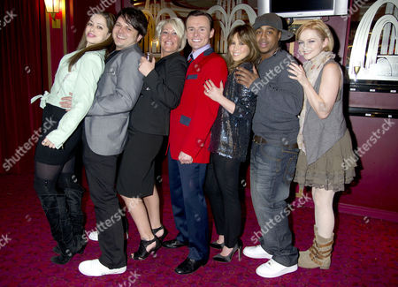 Stock Photo of Former S Club 7 Member Jon Lee Joins the Cast of Jersey Boys and His Ex-band Members Welcome Him Into the Show Their First Reunion Since the Band Split Tina Barrett Paul Cattermole Jo O'meara Jon Lee Rachel Stevens Bradley Mcintosh & Hannah Spearritt *exclusive Photographs All Rounder Double Space Rate For Magazines*