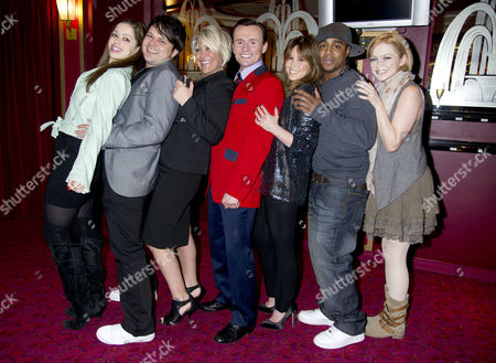 Former S Club 7 Member Jon Lee Joins the Cast of Jersey Boys and His Ex-band Members Welcome Him Into the Show Their First Reunion Since the Band Split Tina Barrett Paul Cattermole Jo O'meara Jon Lee Rachel Stevens Bradley Mcintosh & Hannah Spearritt *exclusive Photographs All Rounder Double Space Rate For Magazines*